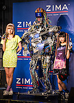 """June 24, 2013, Tokyo, Japan -  Japanese pop-duo Amoyamo pose on stage with Robot band Z-Machine guitarist """"Mach"""" on stage during a special live performance at Liquidroom in downtown Tokyo. The guitarist """"Mach"""" can slide, shred and mute as he is also equipped with a body and soul system that allows him to head-bang. The drummer """"Ashura"""" consists of 4 snare drums, 2 crash cymbals and 3 bass drums while the keyboardist """"Cosmo"""" is equipped with a unique eye beam function. (Photo by Christopher Jue/Nippon News)"""
