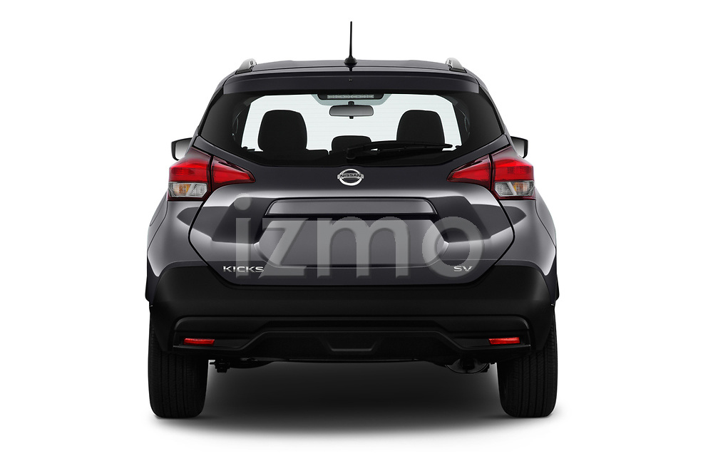 Straight rear view of a 2019 Nissan Kicks SV 5 Door SUV stock images
