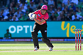 10th February 2019, Melbourne Cricket Ground, Melbourne, Australia; Australian Big Bash Cricket, Melbourne Stars versus Sydney Sixers;  Ben Dwarshuis of the Sydney Sixers drives the ball through the off covers