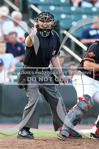 Home plate Jason Bradley makes a call during a game at Frontier Field in Rochester, New York;  June 21, 2010..  Photo By Mike Janes/Four Seam Images