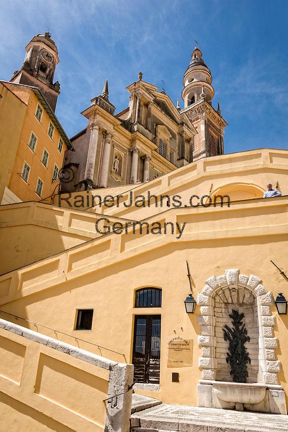 France, Provence-Alpes-Côte d'Azur, Menton: staircase to baroque cathedral Saint-Michel, built 1675 | Frankreich, Provence-Alpes-Côte d'Azur, Menton: Aufgang zur barocken Kathedrale Saint-Michel von 1675