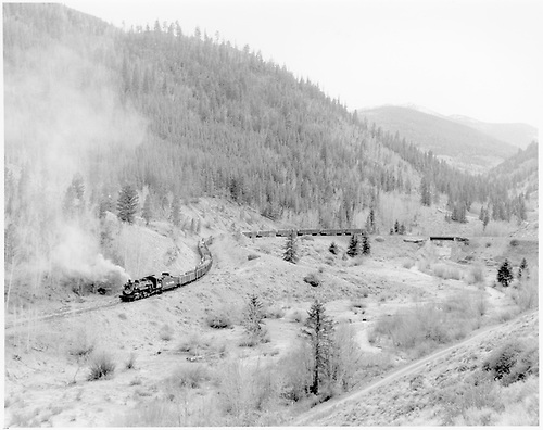 D&amp;RGW #489 with scrap rail train rounding big curve at Shirley as seen from upper level.<br /> D&amp;RGW  Shirley, CO  Taken by Krause, John - Summer 1955