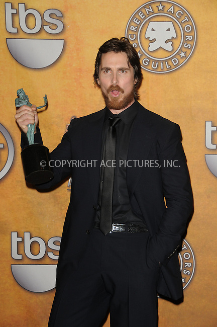 WWW.ACEPIXS.COM . . . . . ....January 30 2011, Los Angeles....Actor Christian Bale in the press room at the 17th Annual Screen Actors Guild Awards at The Shrine Auditorium on January 30, 2011 in Los Angeles, CA....Please byline: PETER WEST - ACEPIXS.COM....Ace Pictures, Inc:  ..(212) 243-8787 or (646) 679 0430..e-mail: picturedesk@acepixs.com..web: http://www.acepixs.com