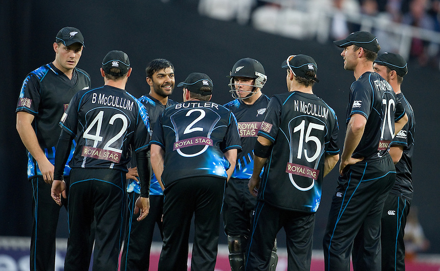 New Zealand players celebrate the wicket of England's Alex Hales <br /> <br />  (Photo by Ashley Western/CameraSport) <br /> <br /> International Cricket - NatWest International T20 Series - England v New  Zealand - Tuesday 25th June 2013 - The Kia Oval, London <br /> <br />  &copy; CameraSport - 43 Linden Ave. Countesthorpe. Leicester. England. LE8 5PG - Tel: +44 (0) 116 277 4147 - admin@camerasport.com - www.camerasport.com
