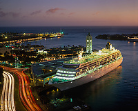 Cruise Ship at Night, Aloha Tower Marketplace, Honolulu, Oahu, Hawaii, USA.