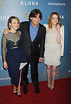 WEST HOLLYWOOD, CA - MAY 27: (L-R) Actress Rachel McAdams, writer/director/producer Cameron Crowe and actress Emma Stone attend the 'Aloha' Los Angeles premiere at The London Hotel West Hollywood on May 27, 2015 in West Hollywood, California.