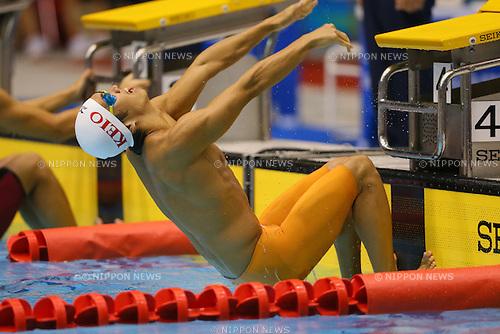 Meguru Hotta (Keio), <br /> August 18, 2014 - Swimming :<br /> 2014 All-Japan Inter High School Championships,<br /> Men's 100m Backstroke <br /> at Chiba International General Swimming Center, Chiba, Japan. <br /> (Photo by Yohei Osada/AFLO SPORT)