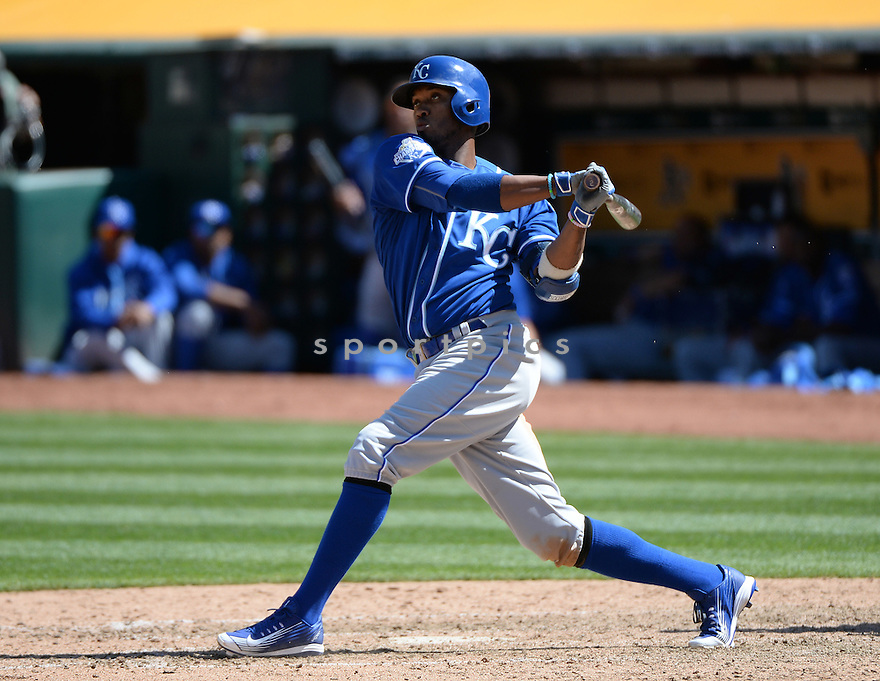 Kansas City Royals Alcides Escobar (2) during a game against the Oakland A's on April 17, 2016 at Oakland Coliseum in Oakland, CA. The A's beat the Royals 3-2.