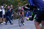 Vincenzo Nibali (ITA) Bahrain-Merida attacks on the Civiglio during the 111th edition of Il Lombardia 2017 &quot; The Race of the Falling Leaves&quot; the final monument of the season, running 247km from Bergamo to Como, Italy. 7th October 2017.<br /> Picture: LaPresse/Fabio Ferrari | Cyclefile<br /> <br /> <br /> All photos usage must carry mandatory copyright credit (&copy; Cyclefile | LaPresse/Fabio Ferrari)