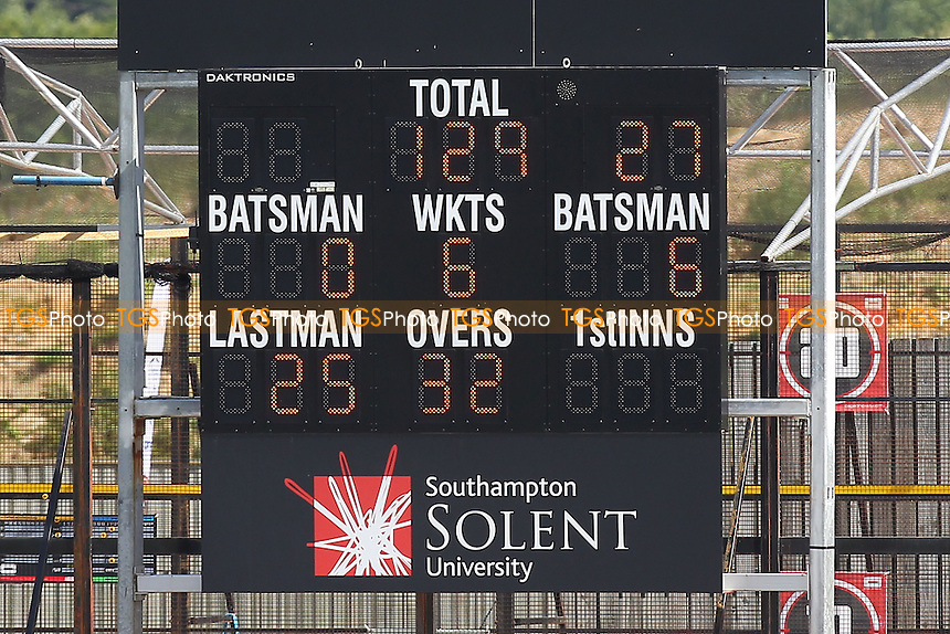 The scoreboard shows that Essex are 129 for 6 wickets, chasing 606 runs to win - Hampshire CCC vs Essex CCC - LV County Championship Division Two Cricket at the Ageas Bowl, West End, Southampton - 17/06/14 - MANDATORY CREDIT: Gavin Ellis/TGSPHOTO - Self billing applies where appropriate - 0845 094 6026 - contact@tgsphoto.co.uk - NO UNPAID USE