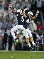 Penn State Nittany Lions linebacker Mike Hull (43) celebrates his interception in the second half with Penn State Nittany Lions linebacker Nyeem Wartman (5) at Beaver Stadium on October 25, 2014.  (Chris Russell/Dispatch Photo)