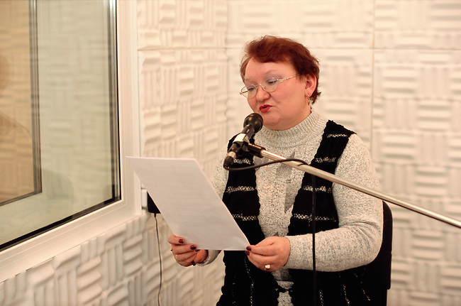 Valentina Kirillova, Sami Radio's first presenter, in the recording studio at Lovozero. Murmansk, Kola Peninsula, NW Russia
