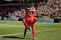 Portland, OR - Saturday September 02, 2017: Christine Sinclair,  Nadia Nadim during a regular season National Women's Soccer League (NWSL) match between the Portland Thorns FC and the Washington Spirit at Providence Park.