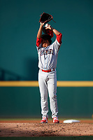 Clearwater Threshers starting pitcher Ranger Suarez (19) during a game against the Bradenton Marauders on July 24, 2017 at LECOM Park in Bradenton, Florida.  Bradenton defeated Clearwater 6-3  (Mike Janes/Four Seam Images)