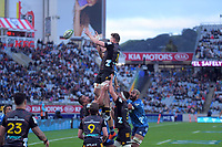 Adam Thomson goes up for lineout ball during the Super Rugby Aotearoa match between the Blues and Chiefs at Eden Park in Auckland, New Zealand on Sunday, 26 July 2020. Photo: Dave Lintott / lintottphoto.co.nz