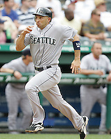Seattle Mariners OF Raul Ibanez runs home against the Texas Rangers on May 14th, 2008 at Texas Rangers Ball Park. Photo by Andrew Woolley / Four Seam Images.
