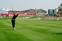 Alvaro Quiros (ESP) plays his 2nd shot on the 18th hole during Thursday's Round 1 of the HSBC Golf Championship at the Abu Dhabi Golf Club, United Arab Emirates, 26th January 2012 (Photo Eoin Clarke/www.golffile.ie)