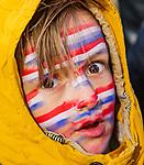 UTRECHT - Jonge supporter van Oranje tijdens    de Pro League hockeywedstrijd wedstrijd , Nederland-China (6-0) .  COPYRIGHT  KOEN SUYK