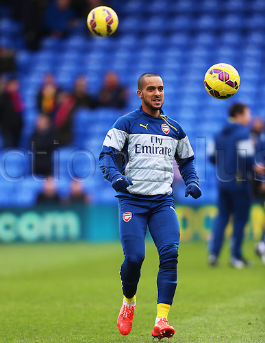 21.02.2015.  London, England. Barclays Premier League. Crystal Palace versus Arsenal. Arsenal forward Theo Walcott warms up before the game