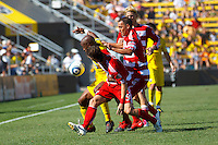 28 AUGUST 2010:  Emilio Renteria of the Columbus Crew (20), FC Dallas' Zach Loyd (19), Jair Benitez (5) and Brek Shea (20) during MLS soccer game between FC Dallas vs Columbus Crew at Crew Stadium in Columbus, Ohio on August 28, 2010.