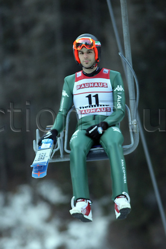 12th January 2018, Val di Fiemme, Fiemme Valley, Italy; FIS Nordic Combined World Cup, Mens Gundersen; Raffaele Buzzi (ITA) on the chair to the top