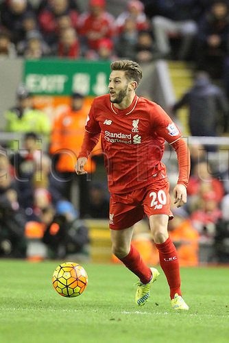 02.03.2016. Anfield Stadium, Liverpool, England. Barclays Premier League. Liverpool versus Manchester City. Adam Lallana  of Liverpool in action