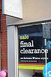 Clarks shoe shop final clearance sale. High street shops and shopping,  January 2009, Lowestoft, Suffolk, England