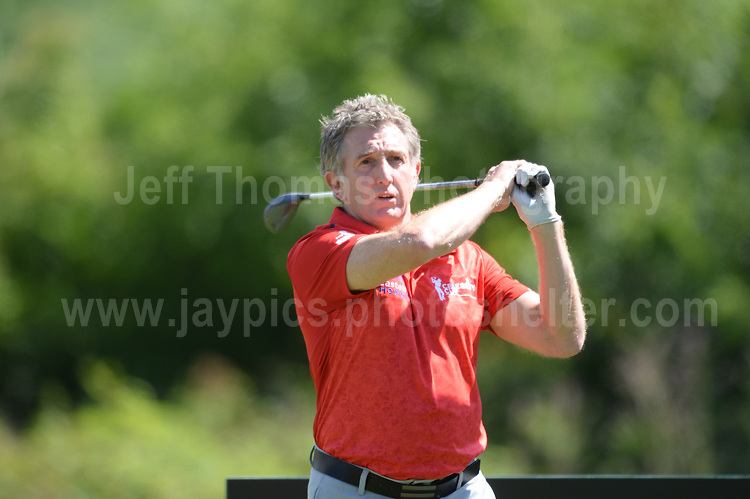 Former Wales International rugby player Jonathan Davies  during The 2017 Celebrity Cup golf tournament at the Celtic Manor Resort, Newport, South Wales. 1.07.2017 <br /> <br /> <br /> Jeff Thomas Photography -  www.jaypics.photoshelter.com - <br /> e-mail swansea1001@hotmail.co.uk -<br /> Mob: 07837 386244 -