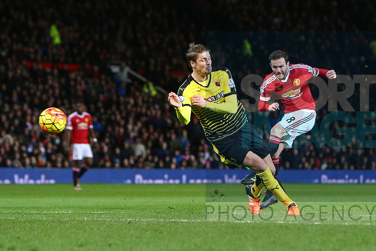 Juan Mata of Manchester United fires a shot on goal - Barclay's Premier League - Manchester United vs Watford - Old Trafford - Manchester - 02/03/2016 Pic Philip Oldham/SportImage