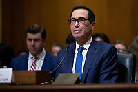 United States Secretary of the Treasury Steven T. Mnuchin testifies before the U.S. Senate Committee on Finance regarding the budget for fiscal year 2021 at the United States Capitol in Washington D.C., U.S. on Wednesday, February 12, 2020.  <br /> <br /> Credit: Stefani Reynolds / CNP/AdMedia
