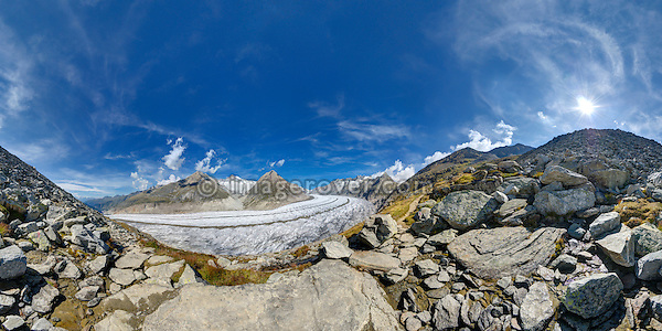 Switzerland, Valais, Western Europe, Aletsch Glacier (UNESCO world heritage site). Panorama view nr. Rote Chumma between Bettmerhorn and Märjelensee.  Note: This is a digitally stitched panoramic image.