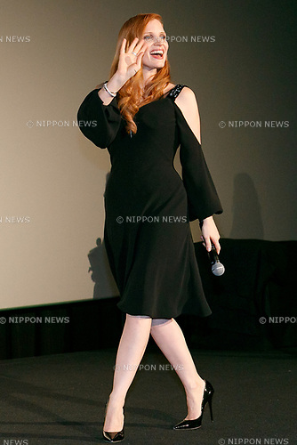 Jessica Chastain attends a stage greeting for her film The Zookeeper's Wife on November 27, 2017, Tokyo, Japan. Chastain greeted fans during the promotional event for the movie which will be released in Japan on December 15. (Photo by Rodrigo Reyes Marin/AFLO)