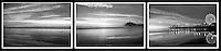 Santa Monica Bay, Pacific Park, Pier, B/W Triptych Photo