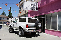 LOS ANGELES - AUG 17: Bronco, model which OJ Simpson drove at the OJ Simpson pop-up museum at the Coagula Curatorial Gallery on August 12, 2017 in Los Angeles, California