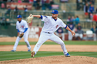 South Bend Cubs relief pitcher Ryan Lawlor (21) during a Midwest League game against the Cedar Rapids Kernels at Four Winds Field on May 8, 2019 in South Bend, Indiana. South Bend defeated Cedar Rapids 2-1. (Zachary Lucy/Four Seam Images)