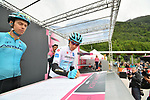 Maglia Bianca Miguel Angel Lopez Moreno (COL) Astana Pro Team at sign on before Stage 17 of the 2019 Giro d'Italia, running 181km from Commezzadura (Val di Sole) to Anterselva / Antholz, Italy. 29th May 2019<br /> Picture: Massimo Paolone/LaPresse | Cyclefile<br /> <br /> All photos usage must carry mandatory copyright credit (© Cyclefile | Massimo Paolone/LaPresse)