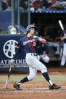 Chris Prescott #3 of the Cal State Fullerton Titans bats against the Stanford Cardinal at Goodwin Field on February 19, 2017 in Fullerton, California. Stanford defeated Cal State Fullerton, 8-7. (Larry Goren/Four Seam Images)