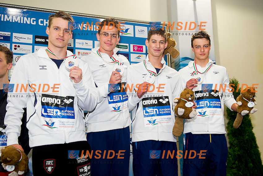 Team Israel ISR<br /> 4X200 Freestyle Relay Men Final Bronze Medal<br /> LEN 43rd Arena European Junior Swimming Championships<br /> Hodmezovasarhely, Hungary <br /> Day03 08-07-2016<br /> Photo Andrea Masini/Deepbluemedia/Insidefoto