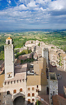 Europe, Italy, Tuscany, San Gimignano and Countryside From the Palazzo Comunale (City Hall) Tower