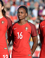 20171024 - PENAFIEL , PORTUGAL :  Portugese Diana Silva pictured during a women's soccer game between Portugal and the Belgian Red Flames , on tuesday 24 October 2017 at Estádio Municipal 25 de Abril in Penafiel. This is the third game for the  Red Flames during the Worldcup 2019 France qualification in group 6. PHOTO SPORTPIX.BE | DAVID CATRY