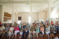 NWA Democrat-Gazette/BEN GOFF @NWABENGOFF<br /> Guests listen as the Northwest Arkansas Sacred Harp Singers perform Saturday, June 30, 2018, during a grand opening for the renovated Shiloh Meeting Hall in downtown Springdale. Constructed in 1871, the building served as a home to multiple church congregations, fraternal organizations and other community functions over it's lifetime. In 2005 the Independent Order of Odd Fellows donated the building to the Shiloh Museum of Ozark History for it's restoration and preservation. The restored first floor will again be used by community groups and the museum for functions, and will be available to rent for events. The second floor, expected to open in 2020, will be an exhibit hall telling the story of the building and the history of the organizations that have called it home.