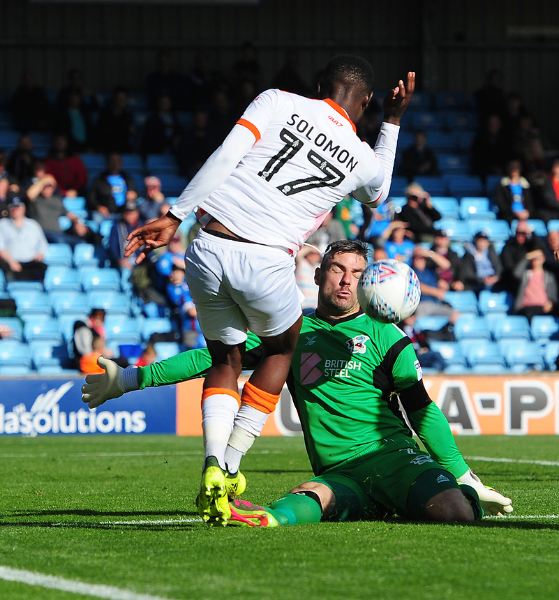 Scunthorpe United's Matthew Gilks makes a save to deny Blackpool's Viv Solomon-Otabor from close range<br /> <br /> Photographer Chris Vaughan/CameraSport<br /> <br /> The EFL Sky Bet League One - Scunthorpe United v Blackpool - Saturday 9th September 2017 - Glanford Park - Scunthorpe<br /> <br /> World Copyright &copy; 2017 CameraSport. All rights reserved. 43 Linden Ave. Countesthorpe. Leicester. England. LE8 5PG - Tel: +44 (0) 116 277 4147 - admin@camerasport.com - www.camerasport.com