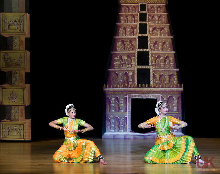 Nisha  & Swetha performing their Arangetram at the Garland Center, Texas
