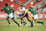 Kalione Nasoko of Fiji runs with the ball during the match Fiji vs South Africa, Day 2 of the HSBC Singapore Rugby Sevens as part of the World Rugby HSBC World Rugby Sevens Series 2016-17 at the National Stadium on 16 April 2017 in Singapore. Photo by Victor Fraile / Power Sport Images