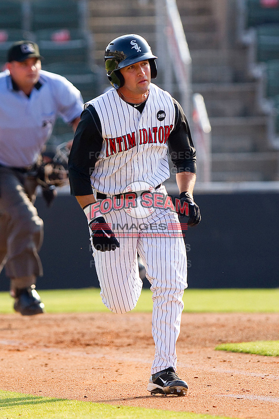 Drew Lee #11 of the Kannapolis Intimidators hustles down the first base line against the Greenville Drive at Fieldcrest Cannon Stadium on May 8, 2011 in Kannapolis, North Carolina.   Photo by Brian Westerholt / Four Seam Images