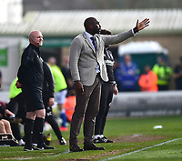 Macclesfield Town manager Sol Campbell shouts instructions to his team from the technical area<br /> <br /> Photographer Andrew Vaughan/CameraSport<br /> <br /> The EFL Sky Bet League Two - Lincoln City v Macclesfield Town - Saturday 30th March 2019 - Sincil Bank - Lincoln<br /> <br /> World Copyright © 2019 CameraSport. All rights reserved. 43 Linden Ave. Countesthorpe. Leicester. England. LE8 5PG - Tel: +44 (0) 116 277 4147 - admin@camerasport.com - www.camerasport.com