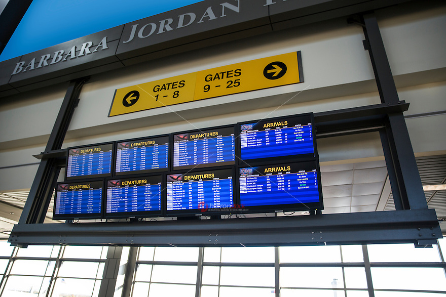 Flight information display board at Barbara Jordan Terminal in the Austin Bergstrom International Airport, ABIA.