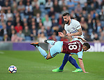 Olivier Giroud of Chelsea tackles Ashley Westwood of Burnley during the premier league match at the Turf Moor Stadium, Burnley. Picture date 19th April 2018. Picture credit should read: Simon Bellis/Sportimage