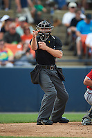 Umpire Chris Marco during a game between the Carolina Mudcats and Frederick Keys on June 4, 2016 at Nymeo Field at Harry Grove Stadium in Frederick, Maryland.  Frederick defeated Carolina 5-4 in eleven innings.  (Mike Janes/Four Seam Images)