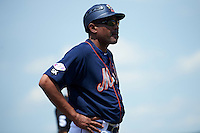 Binghamton Mets coach Luis Natera (12) during a game against the Richmond Flying Squirrels on June 26, 2016 at NYSEG Stadium in Binghamton, New York.  Binghamton defeated Richmond 7-2.  (Mike Janes/Four Seam Images)